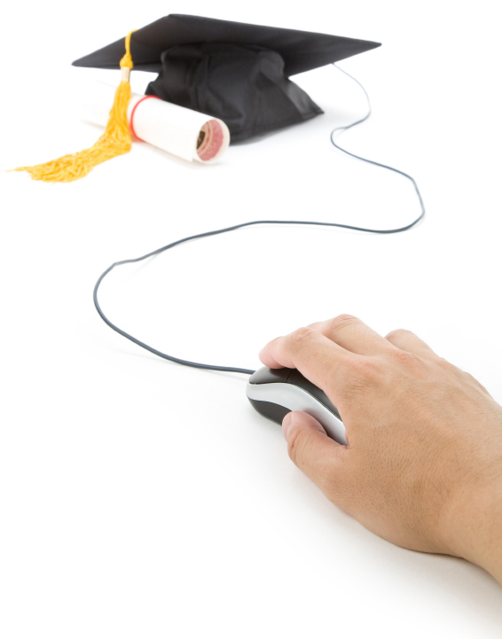Graduation cap, diploma and computer mouse